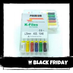 Ace Ni-Ti K-files 15-40 25mm Premium