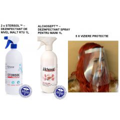 Pachet dezinfectanti Klintensiv: ALCHOSEPT dez.maini 1L + 2 x STERISOL dezinf.universal 1L+ 5 viziere