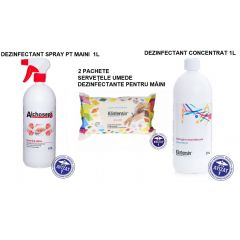 Pachet dezinfectanti Klintensiv: Alchosept 1L + 2xservetele maini 70 buc. + dezinfectant concentrat 1L